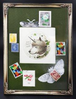 林 由紀子 銅版画 蔵書票(手彩色)「夢先案内犬」サイン入り