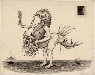 多賀 新 銅版画作品 魚シリーズ No.22「鏡を持って」*シート