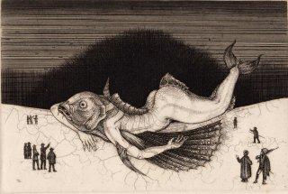 多賀 新 銅版画作品 魚シリーズ No.4「座礁」*シート