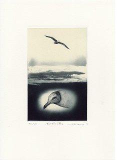 若月 公平 銅版画作品「風と雲と太陽と」