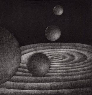 大森弘之 銅版画「波紋と球体」サイン入り