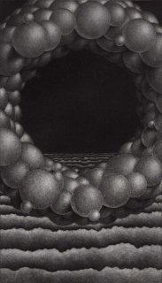 大森弘之 銅版画「雲の輪と波」サイン入り