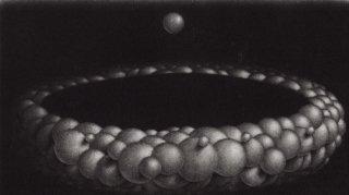 大森弘之 銅版画「原子のスープと球体」サイン入り