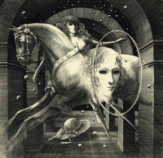 坂東壯一 銅版画 『イレーヌの木馬』サイン入り