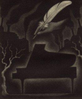 小池結衣 銅版画『親愛なる街路樹と煙突/Carta』サイン入り