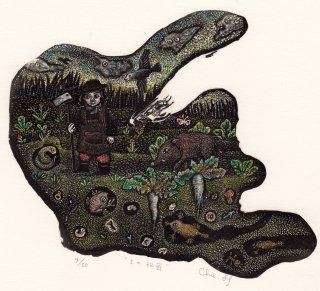 林 千絵  木口木版画「土の秘密」サイン入り