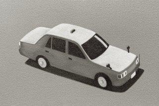 豊田 泰弘 油彩画『タクシー』