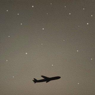 豊田 泰弘 油彩画「星と飛行機」