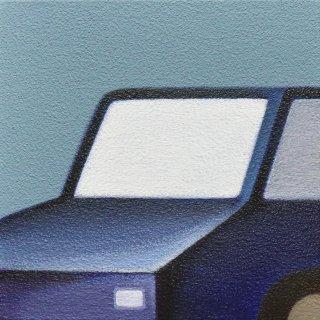 豊田 泰弘 油彩画「青い車」