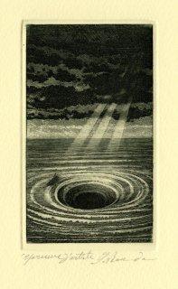 坂東壯一 銅版画 『THE DESCENT INTO THE MAELSTROM』サイン入り