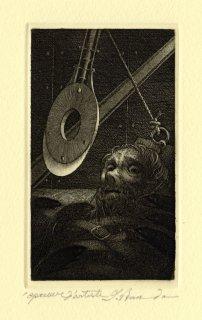 坂東壯一 銅版画 『THE PIT AND THE PENDULUM』サイン入り
