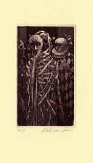 坂東壯一 銅版画 『赤死病の仮面』サイン入り