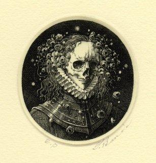 坂東壯一 銅版画 『仮面の肖像』サイン入り