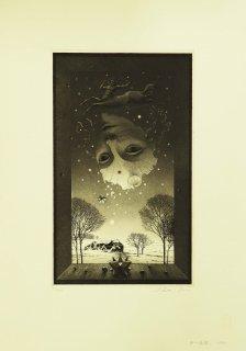 坂東壯一 銅版画『冬の仮面』サイン入り