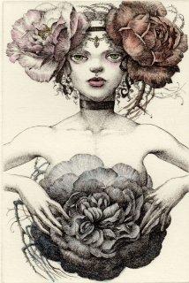 林 由紀子 銅版画(手彩色)「夜明けに開く薔薇」(シート)