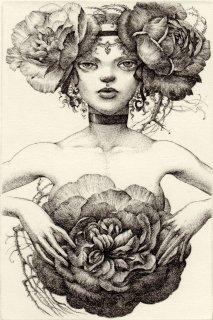 林 由紀子 銅版画(モノクロ)「夜明けに開く薔薇」(シート)