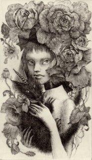 林 由紀子 銅版画(モノクロ)「小さなペルセポネーの庭」(シート)