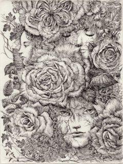 林 由紀子 銅版画(モノクロ)「薔薇迷路 2018」(シート)