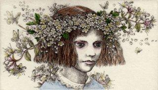 林 由紀子 銅版画(手彩色)「走り去るものを見つめるアリス」(シート)