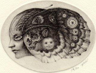 林 由紀子 銅版画(モノクロ)「夜の旅」(シート)