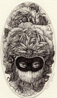 林 由紀子 銅版画(モノクロ)「謝肉祭の仮面 �」(シート)