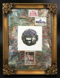 林 由紀子 銅版画(手彩色)「謝肉祭の仮面�(紫版)」(シート)