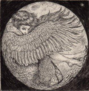 三塩佳晴 銅版画「翔月」サイン入り