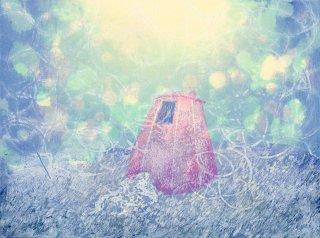 下山 明花 木版画「海底の子」*シート