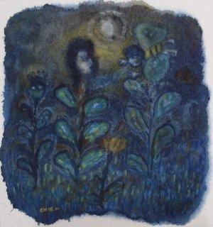 林 千絵  作品「夜の庭」*額装品