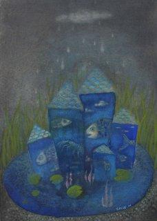 林 千絵  作品「どこもかしこも雨が降り」*額装品