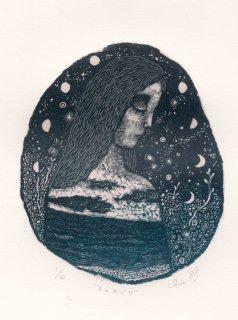 林 千絵  木口木版画「月のめぐり」*シート