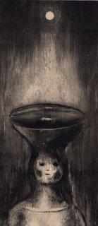 重藤 裕子 銅版画「屋根の上の女」*シート