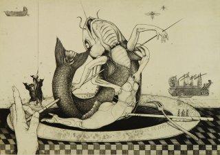 多賀 新 銅版画作品 魚シリーズ No.6「脱皮」*シート