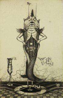 多賀 新 銅版画作品 魚シリーズ No.9 「食悦」*シート