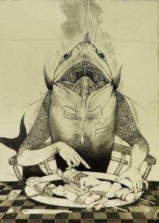 多賀 新 銅版画作品 魚シリーズ No.25「食魚種」*シート