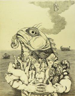 多賀 新 銅版画作品 魚シリーズ No.26「食通」*シート