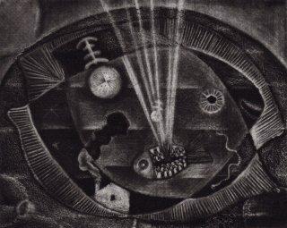 駒井哲郎 銅版画 「消えかかる夢」サイン入り *額装品