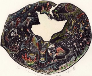 林 千絵  木口木版画「メルキアデスの到来-百年の孤独」*シート