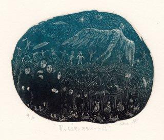 林 千絵  木口木版画「翼のある男とある人々の話」*シート