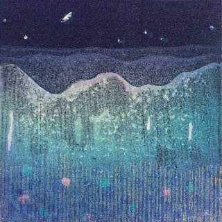 近藤 幸  木版画「山と月」*額装品