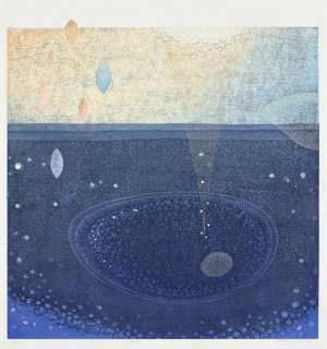 近藤 幸 木版画作品『しずく』60×60cm  *シート