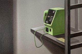 豊田 泰弘 油彩画『電話ボックス』