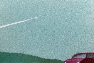 豊田 泰弘 油彩画『飛行機雲』