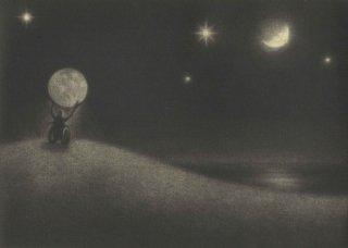 小池結衣 銅版画『月ふたつ』*シート