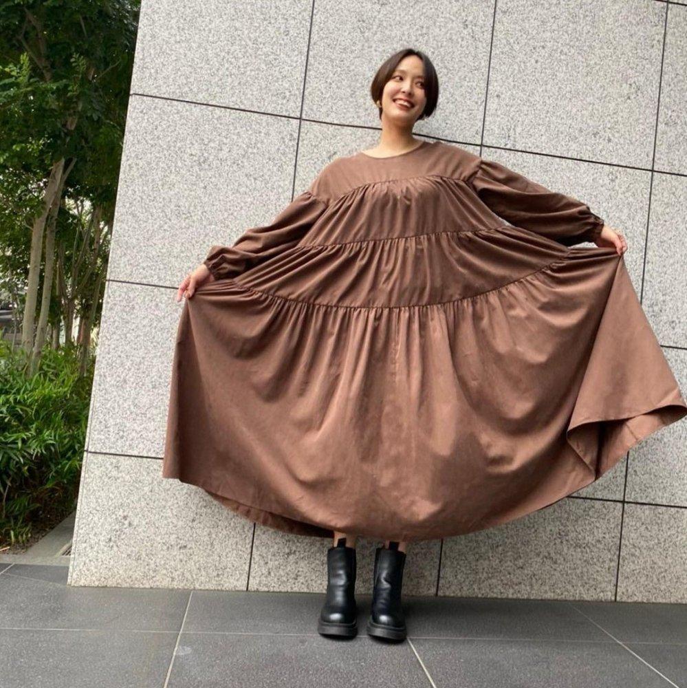 2wayスエードスキンボリュームティアードドレス