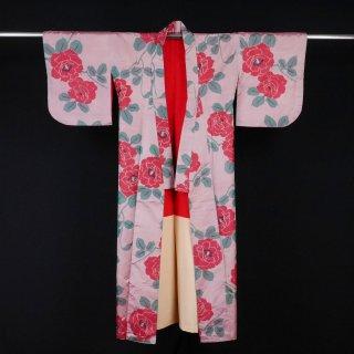 アンティーク着物 薔薇 絣 裄丈62.5cm