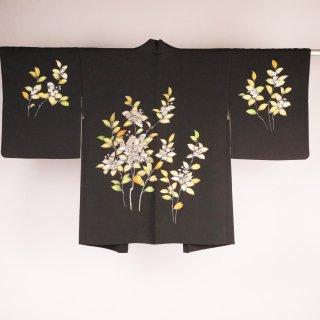 黒絵羽織 植物 手描き 裄丈64.5cm