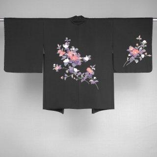 黒絵羽織 花文様 加賀友禅 裄丈62.5cm