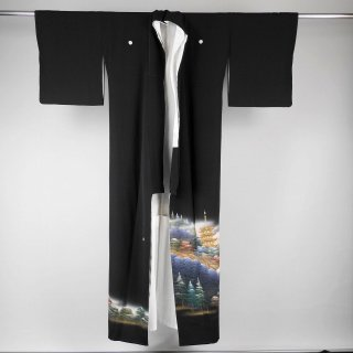 黒留袖 四季万葉 蝋彩染め 作家もの 裄丈68cm