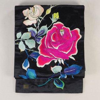 アンティーク帯 黒繻子帯 薔薇